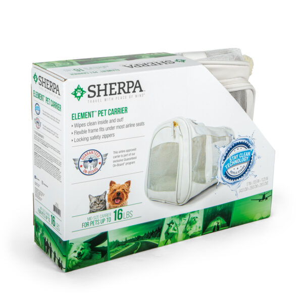 Sherpa Element Wipe Clean Carrier, Medium, White front of box