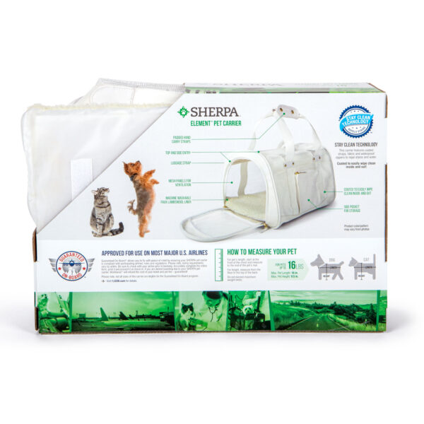 Sherpa Element Wipe Clean Carrier, Medium, White back of box