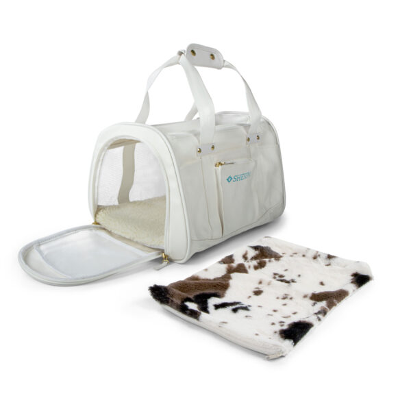 Sherpa Element Wipe Clean Carrier, Medium, White with cow liner